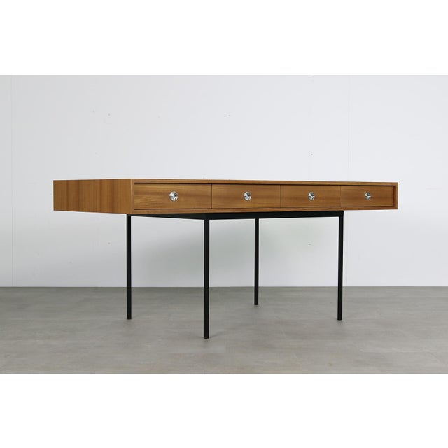 Minimalist Nathan Lindberg Design Teak and Metal Writing Table For Sale In New York - Image 6 of 6