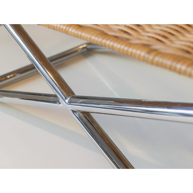 Ward Bennett Woven Sled Chrome Chair For Sale - Image 10 of 12