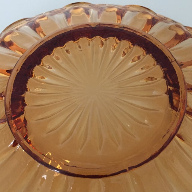 Glass Vintage Amber Lace Edge Glass Bowl For Sale - Image 7 of 12