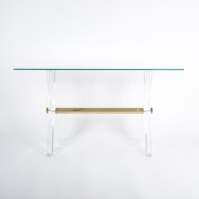 1970s Lucite and Brass X Frame Console Table, Circa 1970 For Sale - Image 5 of 13