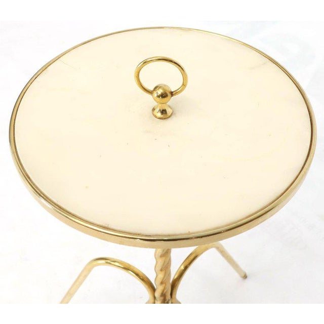 Gio Ponti Fine Solid Brass Profile With Onyx Top Side End Serving Accent Table, Italy For Sale - Image 4 of 11