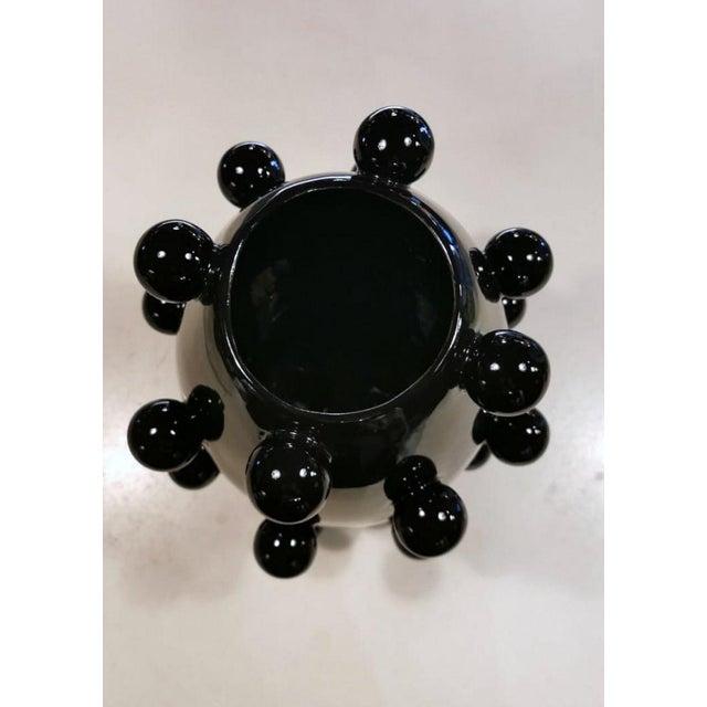 Early 21st Century Black Polished Handmade Ceramic Sculpture Vase For Sale - Image 5 of 13