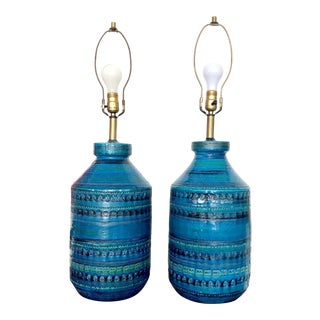 Bitossi Rimini Blue Table Lamps by Aldo Londi - a Pair For Sale