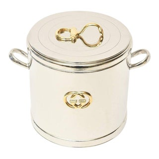 Italian Vintage Gucci 22-Karat Gold Plate and Silver Plate Ice Bucket / Barware