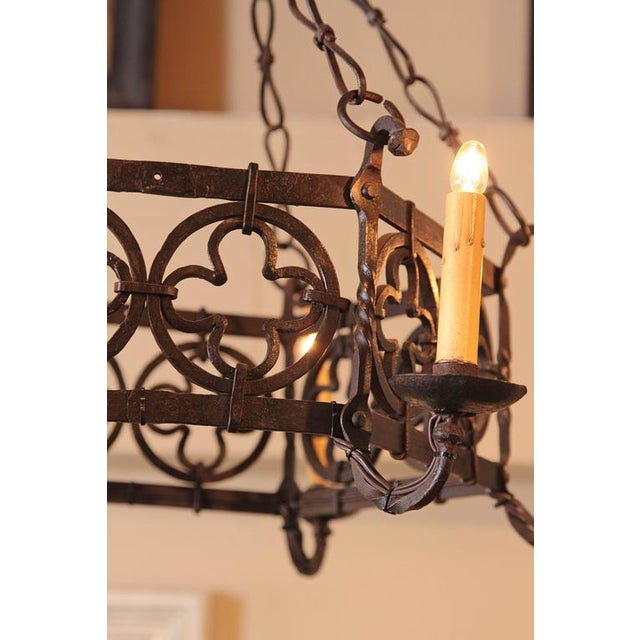 19th Century French Gothic Hexagonal Black Wrought Iron Six-Light Chandelier For Sale - Image 10 of 10