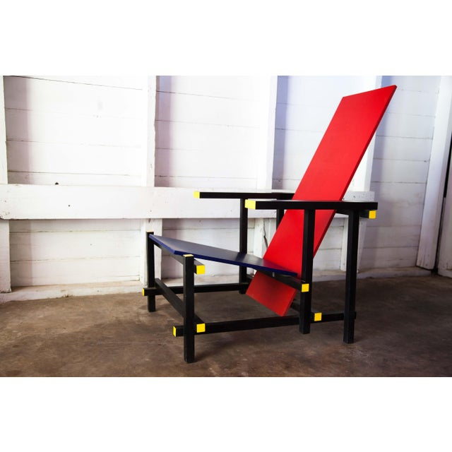 Lacquer Modern Red & Blue Lounge Chair For Sale - Image 7 of 11