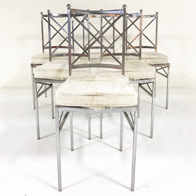 Metal Set of 8 Mid-Century Swedish Polished Steel Dining Chairs With Custom Ivory Cowhide Cushions For Sale - Image 7 of 10