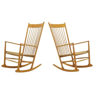 Pair Hans Wegner J16 Rocking Chairs, Earlier Examples From the Original Owners For Sale