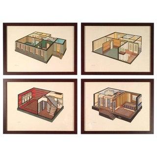 Art Deco German Interior Prints- Set of 4 For Sale