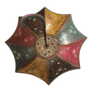 Brass Etched Multi Colored Enameled Umbrella Bowl For Sale