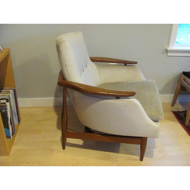 Danish Modern Vintage Mid Century Finn Juhl Style Lounge Chair For Sale - Image 3 of 13