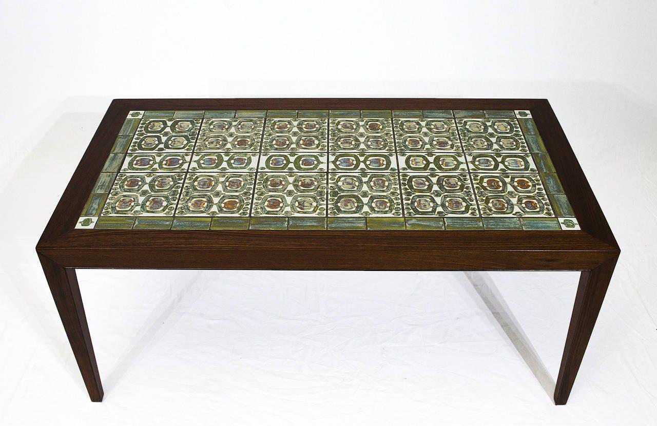 Rosewood Coffee Table With Royal Copenhagen Tiles   Image 3 Of 10