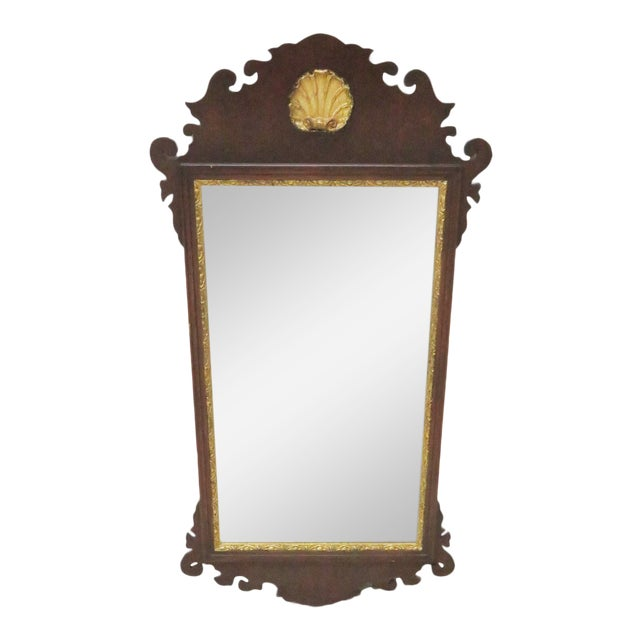 Chippendale Style Mahogany Mirror W/ Gilt Shell Motif For Sale
