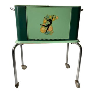 1930s Art Deco Pin-Up Girl Mobile Bar Cart Trolley For Sale