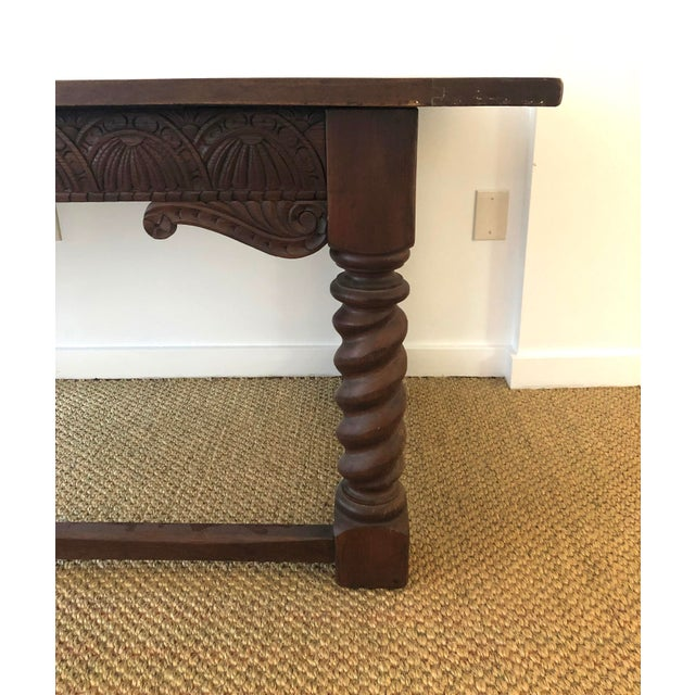 Brown Jacobean Style Carved Oak Refectory Table For Sale - Image 8 of 13