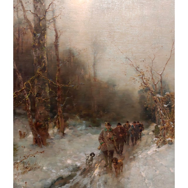 Desiree Thomassin -Hunters in a Winter Wooded Landscape -19th Century Oil Painting For Sale - Image 4 of 11