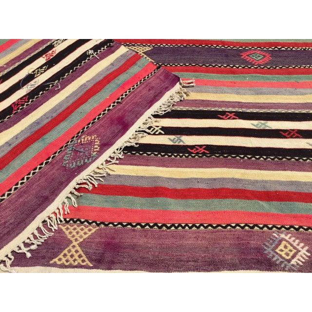 Vintage Striped Turkish Kilim Rug For Sale - Image 10 of 11