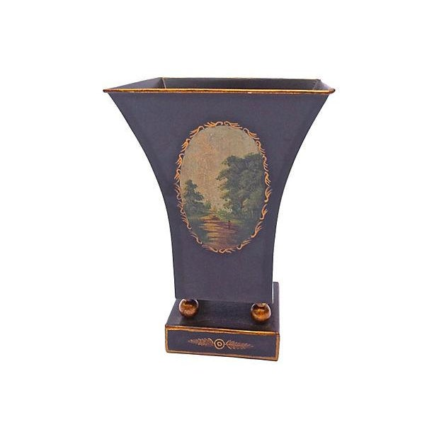 Antique Tole Scenic Tapered Cachepot - Image 4 of 5