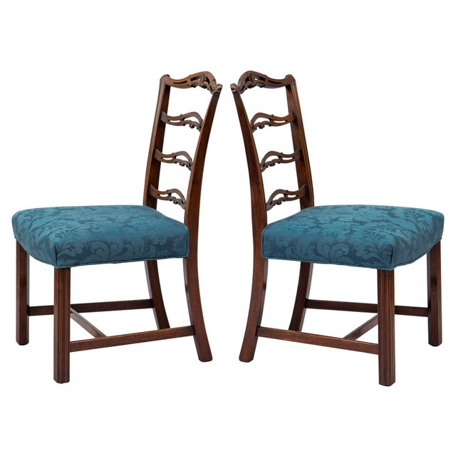 Chippendale Ladder-Back Side Chairs, S/4 For Sale - Image 10 of 11