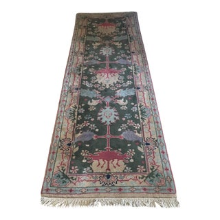 "Turkish Knot Wool Runner Rug - 2'7"" x 9' For Sale"