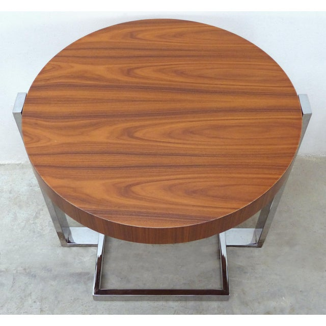 La Spada & Mazza for Medea, Side Table in Palisander Wood and Chrome Italy Offered for sale is a round palisander and...