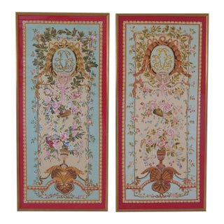 Chelsea House Gold Framed Silk Paintings Wall Art - a Pair For Sale