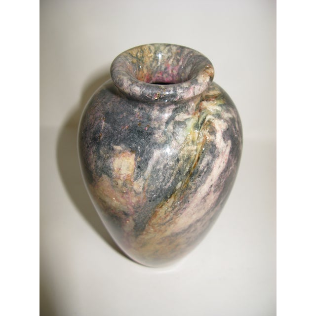 1980s Multi Colored Stone Vase For Sale - Image 4 of 11