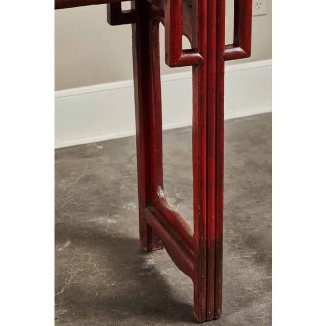 Wood 18th C. Chinese Red Lacquer Elm Altar Table For Sale - Image 7 of 9