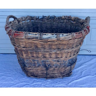 1930s French Champagne Wicker Harvest Basket Preview