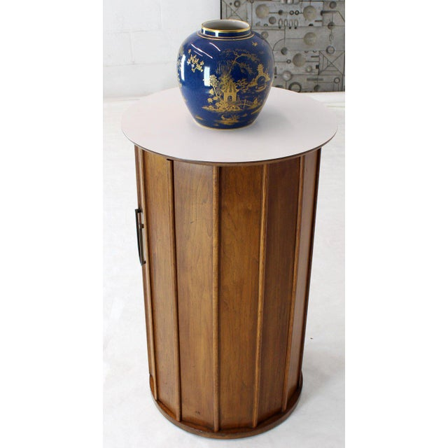 Round Cylinder Shape Pedestal Bar Cabinet Storage Cabinet With Brass Hardware For Sale - Image 11 of 12