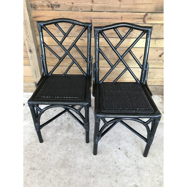 Coastal Regency Rattan Black Lacquered Chinese Chippendale Chairs-A Pair For Sale - Image 10 of 10