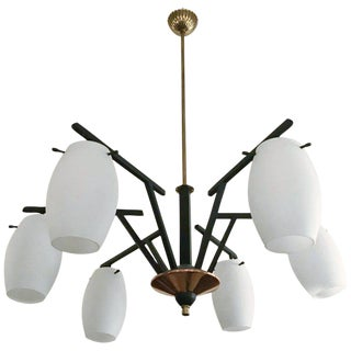 1960s Vintage Frosted Murano Chandelier by Stilnovo For Sale