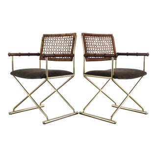 Set of 2 Brass Directors Chairs w/ Bamboo Arm Detailing For Sale