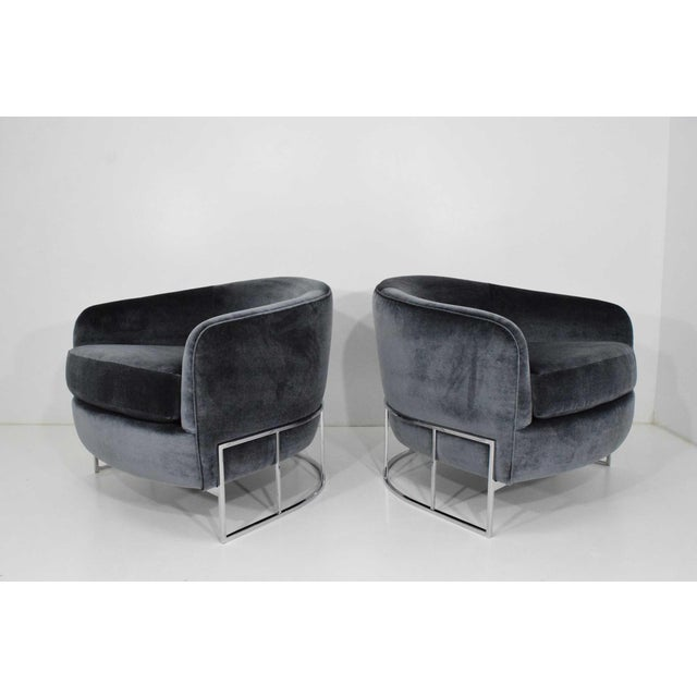 Silver Milo Baughman Gray Velvet Club Chairs - a Pair For Sale - Image 8 of 8