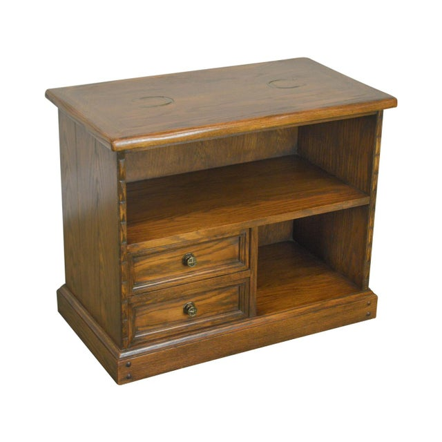 Romweber Viking Oak Bookcase 2 Drawer Side Table With Brass Inlaid Horseshoes For Sale - Image 13 of 13