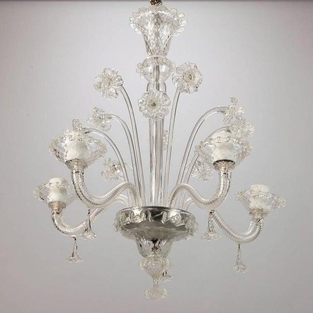 Italian Venetian Five Light Clear Glass Daffodil Chandelier For Sale - Image 3 of 8