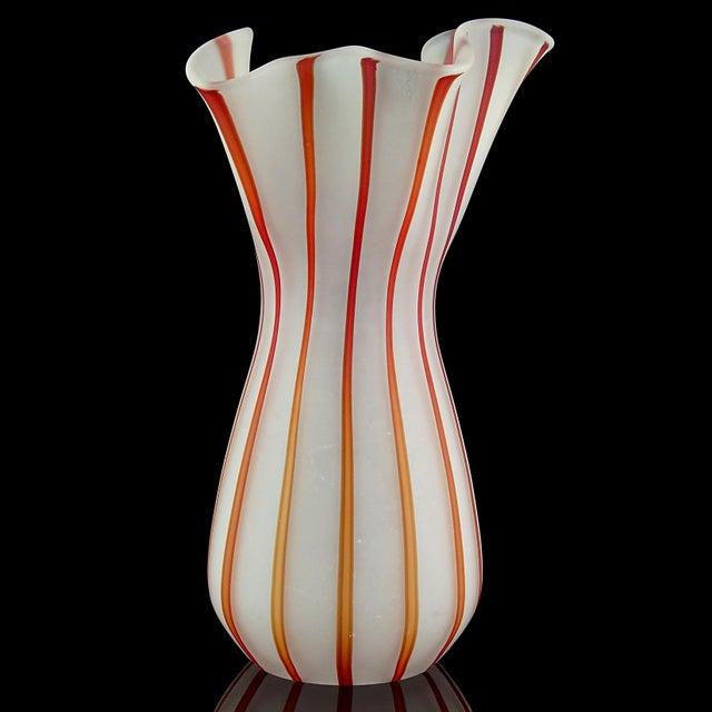 Late 20th Century Vintage White Red Orange Stripes Satin Surface Italian Art Glass Flower Vase For Sale - Image 5 of 7