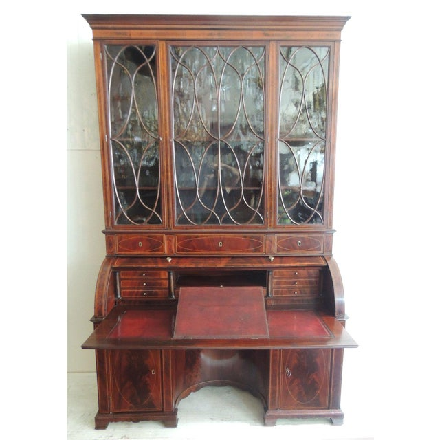 English Traditional Early 19th C Regency Gany Cylinder Roll Top Secretary For Image