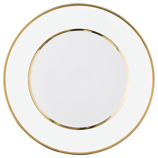 """Schubert"" Charger in White & Narrow Gold Rim For Sale - Image 13 of 13"
