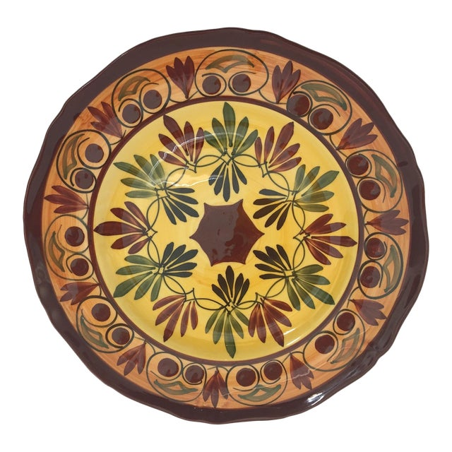 French Polychrome Hand Painted Ceramic Decorative Plate For Sale