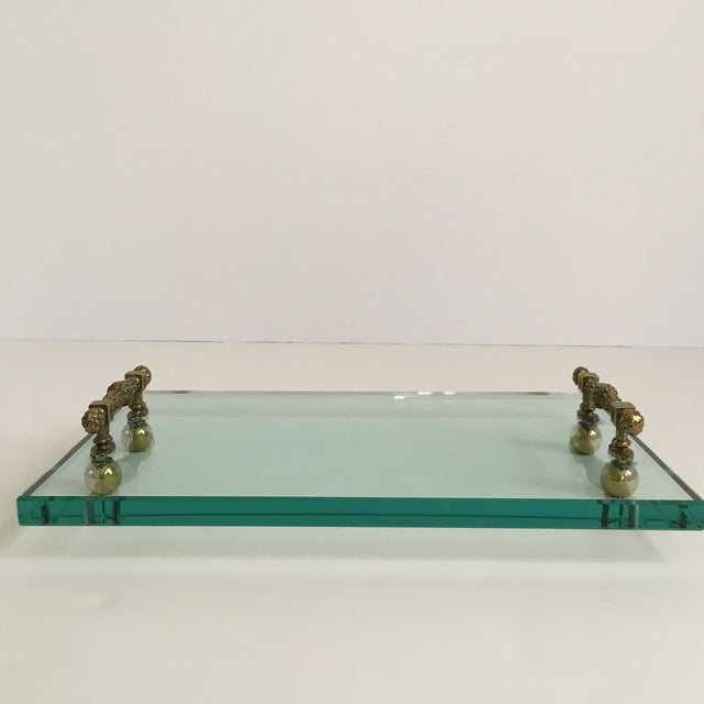 Late 20th Century Hollywood Regency Glass and Brass Tray For Sale - Image 4 of 10