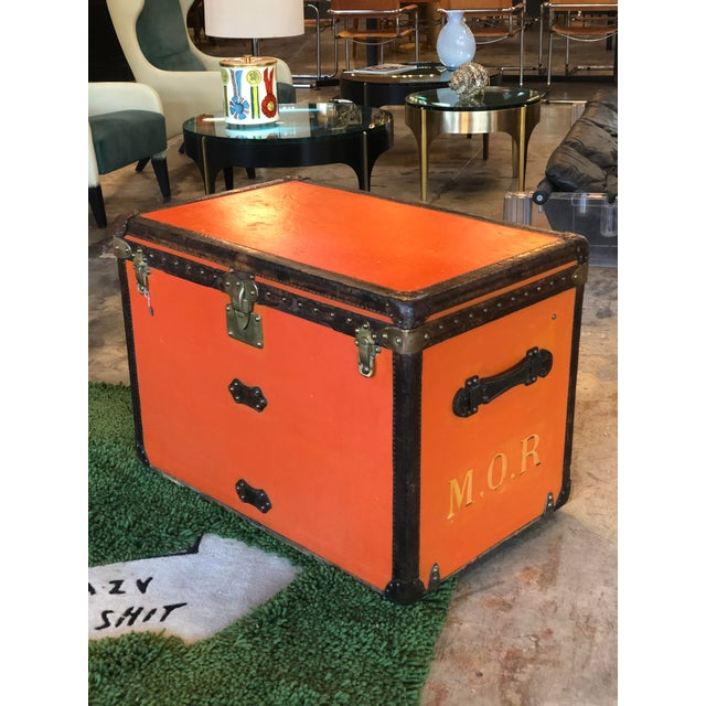Huge Louis Vuitton Steamer trunk 1930s Orange canvas Massif brass ( lock changed) Leather border Original inside with an...
