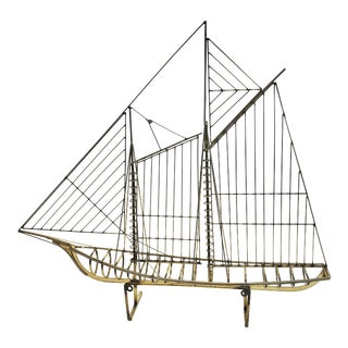 Mid Century Modern Brass Ship Sculpture by Curtis Jere