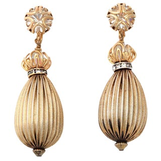 Exotic Goldtone Drop Earrings For Sale