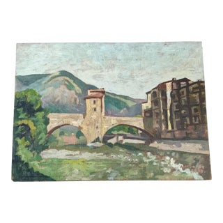 1940s Impressionistic Oil on Board Landscape For Sale