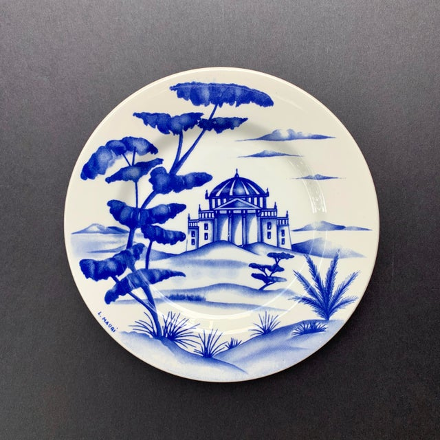 Mediterranean Hand-Painted Italian Ceramic Blue and White Plates - Set of 3 For Sale - Image 3 of 12