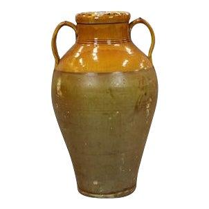 19th Century Italian Puglia Region Terra Cotta Olive Jar For Sale