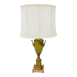 Antique French Urn Lamp on Marble Base For Sale