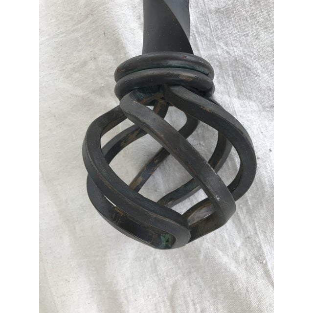 Beautiful pair of large scale, twisted wrought iron rods with rings & holders are perfect for framing a window, sliding...