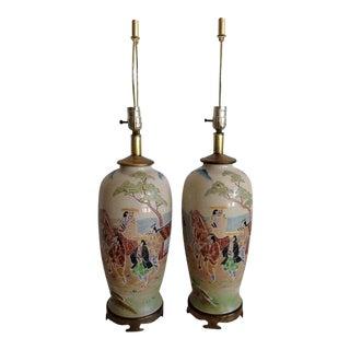 Japanese Porcelain Satsuma Hand Painted Moriage Lamps -a Pair